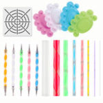 New 15pcs Mandala Dotting Painting Rocks Drawing Pen Stencil Paint Tray Tools Kit DIY