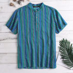 New Mens Striped Vintage Ethnic Style Short Sleeve Short Shirts
