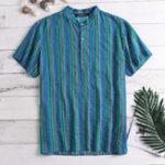 New Mens Striped Vintage Ethnic Style Short Sleeve Short Shirts