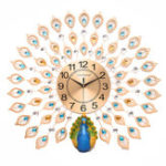 New 60x60cm 3D Large Big Peacock Wall Clock Living Room Bedroom House Decorations