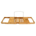 New Bathtub Caddy Bamboo Bath Tub Holder Bathroom Tray Towel Glass Book Reading Rack Stand