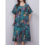 New Vintage Floral Print O-neck Short Sleeve Loose Hem Dress