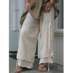 New Casual Solid Color Linen Cotton Women Pants