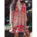 New Women Bohemian Floral Print V-neck 3/4 Sleeve Dress