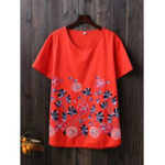 New Women Casual Flower Embroidered Cotton Short Sleeved T-shirt
