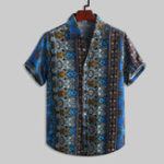 New Mens Vintage Ethnic Style Printed Casual Fashion Shirts