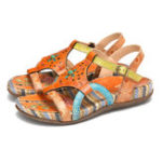 New Women's Leather Flat Sandals Summer Low Heel Buckle Handmade Outdoor Lightweight Beach Sandals