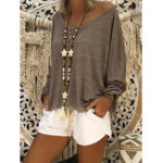 New Casual Women Pure Color Long Sleeve Crew Neck Blouse