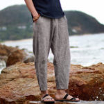 New Men Solid Color Cotton Linen Drawstring Casual Pants