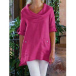 New Cowl Neck Button Cotton-Blend Blouse