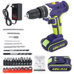 New 2 In 1 Cordless Drill 48V Double Speed Power Drills Electric Screwdriver LED lighting 1/2Pcs Large Capacity Battery