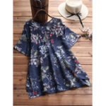 New Floral Print O-neck Button Short Sleeve Irregular Hem Blouse