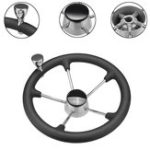 New Stainless Steel 5 Spoke Black Foam Grip Steering Wheel Destroyer For Marine Boat