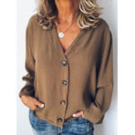 New Solid Color Buttons V Neck Long Sleeve Casual Blouse