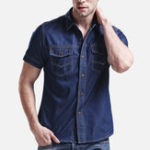 New Mens Classic Denim Double Pockets Casual Shirts