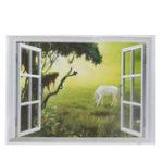 New 3D Grassland White Horse Scenery False Window PVC Decal Wall Sticker Muarl Home Room Decor