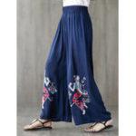 New Women Ethnic Print Elastic Waist Wide Leg Pants