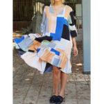 New Geometric Print V-neck Half Sleeve Women Fishtail Dress