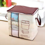 New Foldable Non-Woven Quilt Bag Large Comforters Clothes Storage Bag Container Blankets Organizer w/ Handle Window
