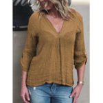 New Women V-neck Adjustable Long Sleeve Solid Color Blouse