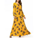 New Women Floral Print Loose Long Sleeve Maxi Dress