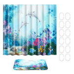 New Waterproof Shower Curtain Underwater World Dolphin Bathroom Mat Hook Home