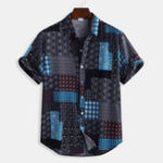 New Mens Patchwork Printing Patchwork Summer Casual Shirts