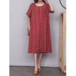 New Women Short Sleeve O-neck Floral Print Mid-long Dress