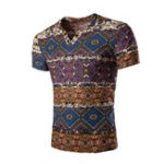New Mens Ethnic Style Casual V-neck Short Sleeve T-shirts