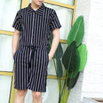New Men Vintage Striped Rompers Set Short Sleeve Onesie Jumpsuit