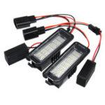 New  LED License Number Plate Lights Lamp 12V 3W 6000K Pair for VW Golf 4 5 6 7 6R Passat B6