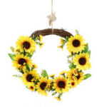New Artificial Sunflower Wreath Flower Wreath Wall Door Wedding Party Home Decorations