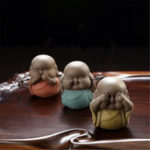 New 6 Types Speak Hear See NO Evil B uddha Monk Statue Ceramic Tea Pet Shelf Decorations