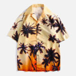 New Men Coconut Tree Printed Beach Vacation Hawaiian Shirts