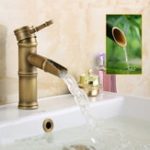 New Single Handle Deck Mount Bathroom Bamboo Vessel Sink Faucet Antique Copper Short Spout Bath Tub Mixer Taps
