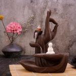New Brown Ceramic Backflow Incense Burner Handmade Incense Holder Stove Censer Decorations