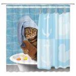 New Cat Bathing Bathroom Shower Curtain Waterproof Fabric With 12 Hooks