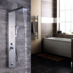 New Brushed Nickel Thermostatic Shower Column Panel Waterfall Rainfall Shower Faucet Head