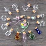 New 10Pcs/Set Mini Glass Bottles Key Chain Pendants Small Wishing Bottles with Cork Vial Arts Jars for Bracelets Gifts