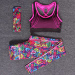 New Women's Yoga Clothing Suit Yoga Pants Sports Three-Piece Running Fitness Clothes Gym Suit