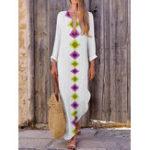 New Vintage Women V-Neck Print Split Hem Long Sleeve Dress