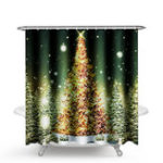 New 1.8M Christmas Waterproof Bathroom Shower Curtain Gold Xmas Tree Decor 12 Hook