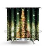 New 1.8M Christmas Waterproof Bathroom Shower Curtain Gold Xmas Tree Decor 12 Hook