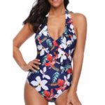 New Printed One-Piece Halter Ladies Swimwear