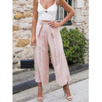New Women Solid Color High Waist Casual Wide Leg Pants