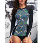 New Long-Sleeved Sun Protection Round Neck Tankinis