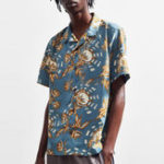 New Men Floral Printed Turn Down Collar Hawaiian Shirts