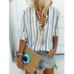 New Bohemian V-neck Stripe Blouse