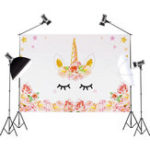 New 3x5FT 5x7FT Vinyl Pink Unicorn Flower Photography Backdrop Background Studio Prop