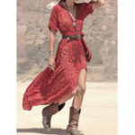 New Women Bohemian Printed Side Pockets Half Sleeve Dress